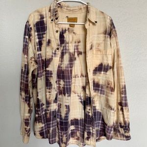 Vintage Bleach Dyed Distressed Flannel